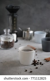 Coffee time with spice, holidays, new year, christmas