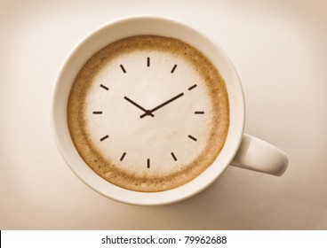 coffee time , watch drawing on latte art coffee cup