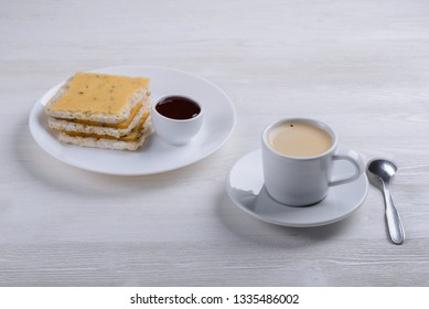 coffee, toast and cranberry sauce