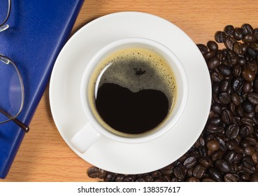 Coffee top view with background