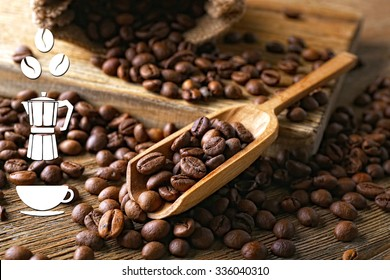 Coffee vector icons on coffee beans background
