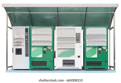 Coffee vending machine and two green soda vending machines, one white soda vending machine in korea, isolated