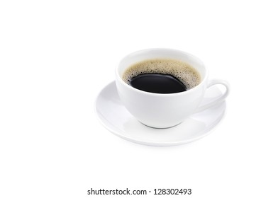 Coffee in a white coffee cup, isolated on a white background