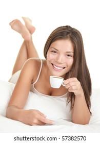 Coffee woman in bed. Woman in bed drinking espresso coffee in the morning. Isolated on white background.