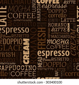 Coffee words, tags. Seamless pattern on the brown background
