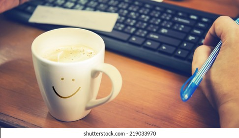 coffee with work and relax time