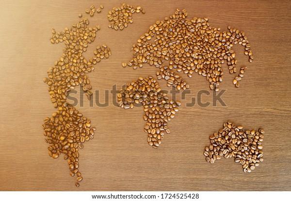 Coffee world map shape background