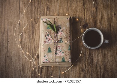 Coffee and wrapped gift
