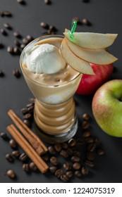 Coffee-Apple milkshake with ice cream on top