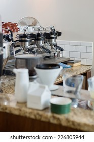 Coffeemaker on counter in coffeeshop