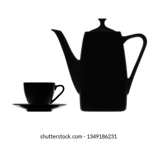 Coffeepot and Cup. Silhouettes on a white background.