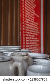 Coffee/Tea Cups, Plates and Kettles in the Indian Coffeehouse, Connaught Place, Delhi, India
