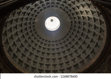 Coffered ceiling of dome of the San Francesco di Paola church in Naples, Italy. It is located at the west side of Piazza del Plebiscito. The church is reminiscent of the Pantheon in Rome.