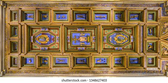 Coffered vault in the Church of San Girolamo della Carità in Rome, Italy. March-24-2019