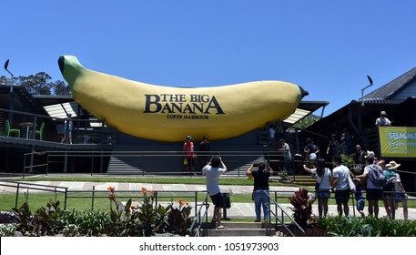 Coffs Harbour, Australia - Dec 24, 2017. The Big Banana is an iconic site (and recreational park) at Coffs Harbour. Tourist take photo of the Big Banana.