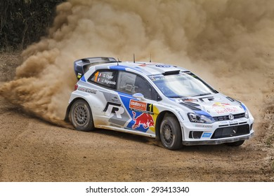 COFFS HARBOUR, AUSTRALIA - SEP 14: CREW #1 S. Ogier, J. Ingrassia in a Volkswagen Polo R WRC 2014 race in Coffs Harbour , Australia on 14 September 2014