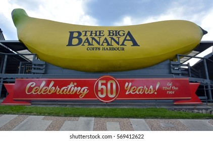 COFFS HARBOUR, NEW SOUTH WALES, AUSTRALIA - DECEMBER 11, 2015. Big Banana in Coffs Harbour, with poster celebrating 50th anniversary. This Big Banana was built in 1964.