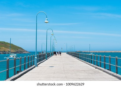 Coffs Harbour, NSW, Australia- December 20, 2017 : View over jetty landmark in Coffs Harbour, one of the most popular family holiday destinations in New South Wales, Australia.