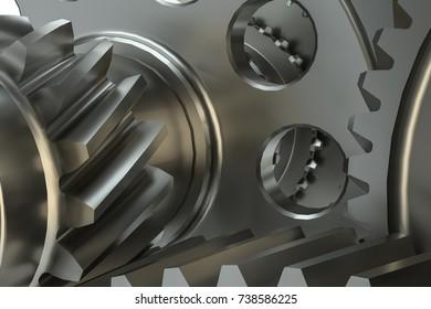 Cog gears mechanism concept. 3d illustration on white