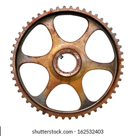 Cog wheel, mechanical gear isolated on white background
