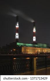 Cogeneration Plant Illuminated At Night