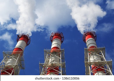 Cogeneration plant steaming funnels, heating industry