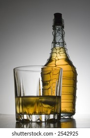 cognac in bottle and glass