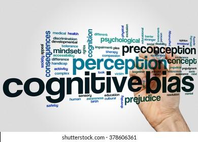 Cognitive bias concept word cloud background