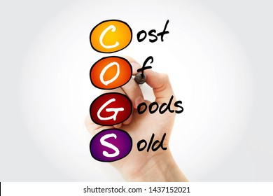 COGS - Cost of Goods Sold acronym with marker, business concept background
