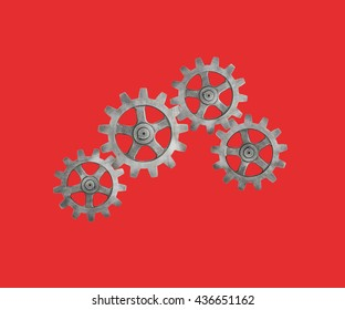 Cogs on Red Background