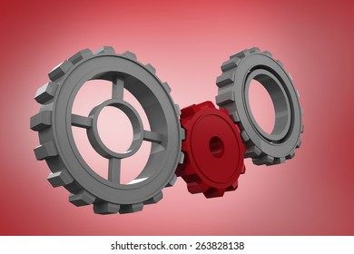 Cogs and wheels against red vignette