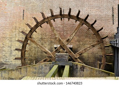 Cogwheel drive of the water mill at Hackfort castle in the Netherlands.