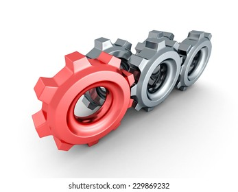 cogwheel gears with red leader on white background. 3d render illustration