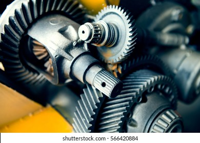 Cogwheels machinery , engineering and industry or concepts such as teamwork and search engine