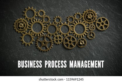 "cogwheels symbolizing complex machinery and the word ""business process management"" on slate background"