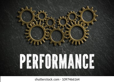 "cogwheels and the word ""performance"" on slate background symbolizing a complex system working together"