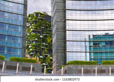cohabitation modern and nature concept, View of Bosco Verticale (vertical forest) Milano, Italy
