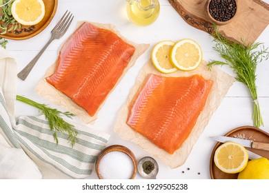 Coho and Sockeye salmon. Alaskan seafood salmon. Fish for dinner menu