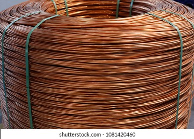 Coil of 8 mm electrolytic tough pitch copper wire rod.