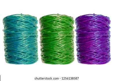 coil of colorful nylon threads on white isolated background. sewing accessories