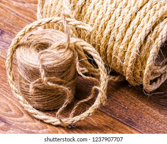 coil of an economic rope for packing close-up on a table