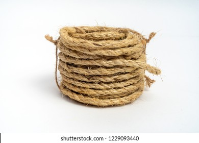 Coil of fiber rope sisal small on isolated white background