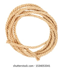 Coil of jute rope isolated on a white background