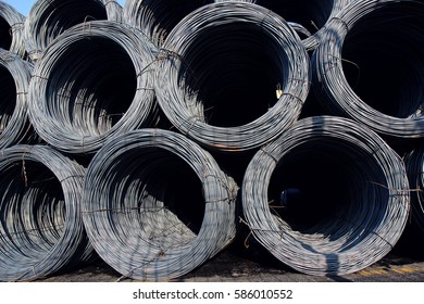 coil of metal wire in stock for construction use