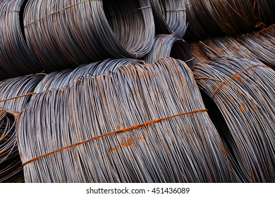 coil  metal wire with traces of rust