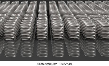 Coil springs. 3D illustration. 3D CG.