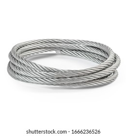 coil of stainless steel galvanized long rope isolated white background