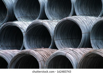 A coil of steel wire in warehouse