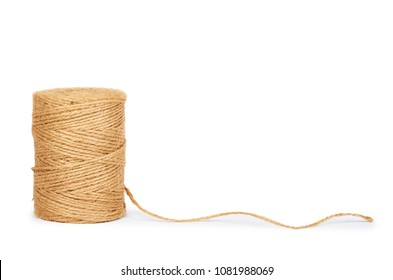 Coil twine isolated on white background, copy space.