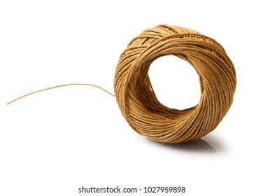 Coil of twine on white background